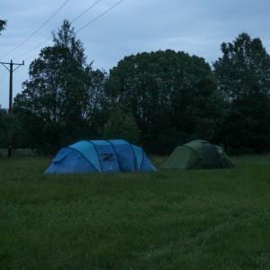 Två tält på ett fält vid en elledning