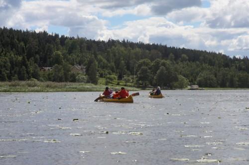 Paddlar på en sjö